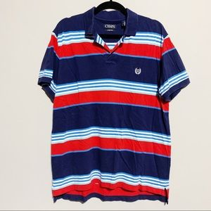 Chaps Shirts - 🛍Chaps Red, White, Blue Striped Polo, Large